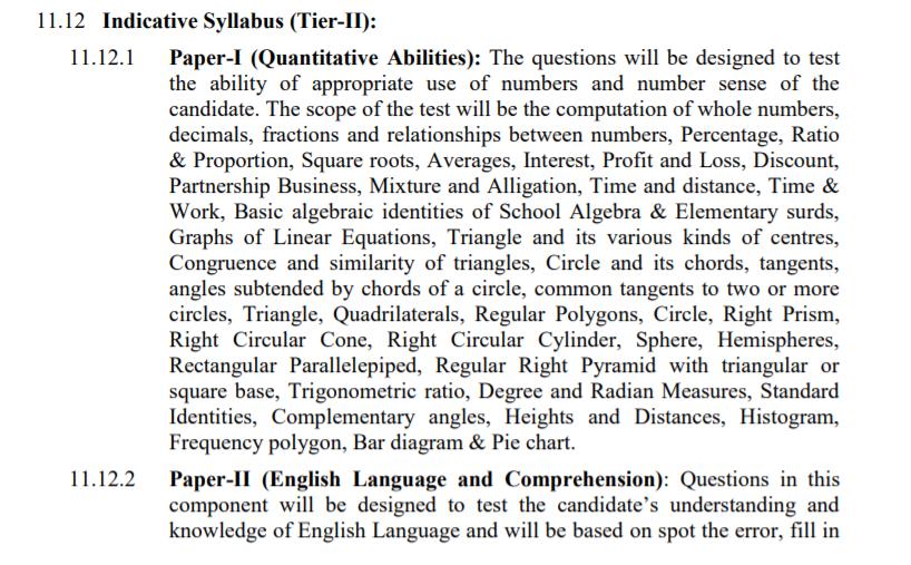 SSC CGL tier 2 2019 Syllabus